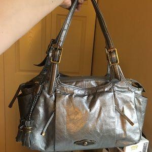 Elliot Lucca leather metallic silver bag handbag